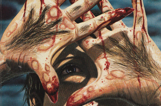 A book cover for EREBUS, with person with fangs holds their bloody and hairy hands in front of their face