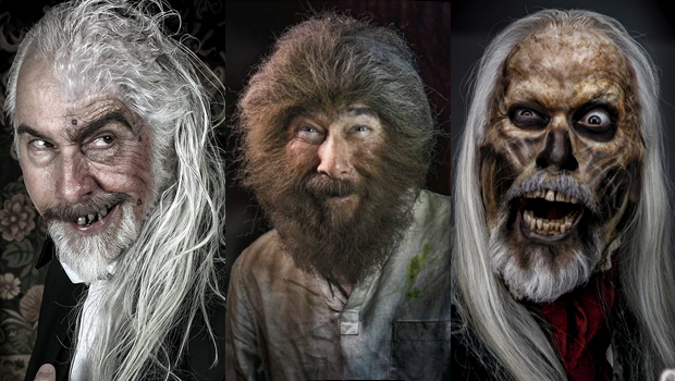 Three examples of Rick Baker's makeup artistry including ghouls and creatures from horror history