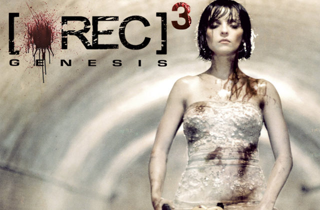 The poster image from the film [REC]3, a woman in a wedding dress holding a chainsaw
