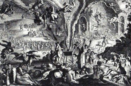 A black and white illustration of Walpurgis Night