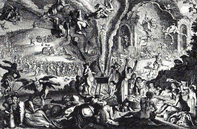 A black and white illustration of Walpurgis Night