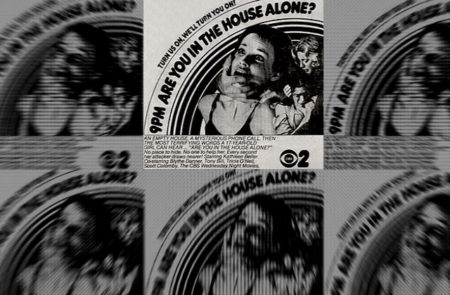 "Collage of repeating advertisements for the film ""Are You in the House Alone?"""